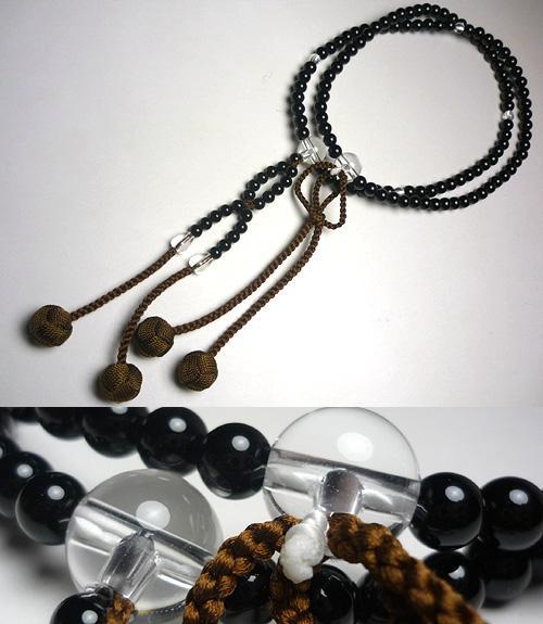 男性用のお数珠 ブラックオニキス 水晶仕立て 浄土真宗