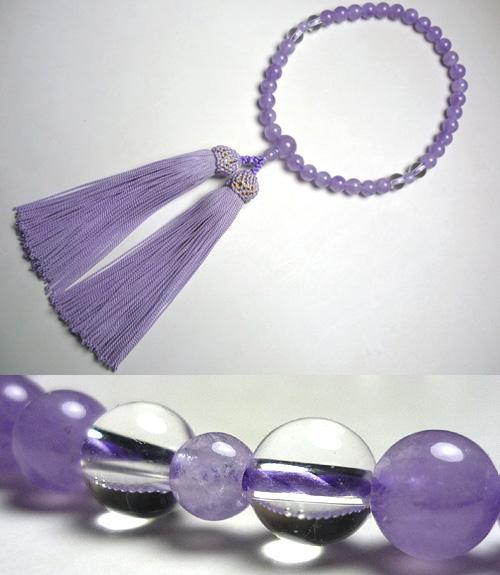 女性用のお数珠 藤雲石 水晶4点仕立て