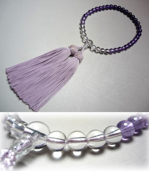 女性用のお数珠 紫水晶グラデーション ライラック房