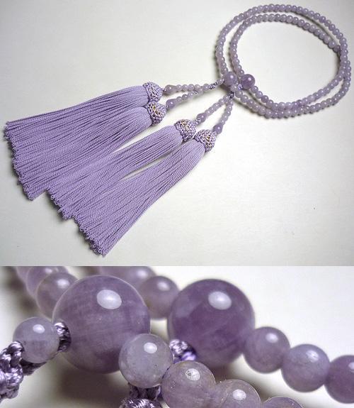 女性用のお数珠 ライトアメジスト(藤雲石) 二重(八宗兼用) 藤房