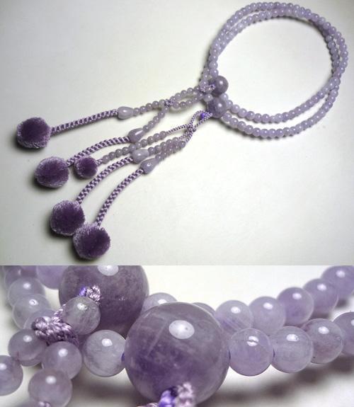 女性用のお数珠 藤雲石共仕立て 日蓮(法華)宗 二双法華 藤房