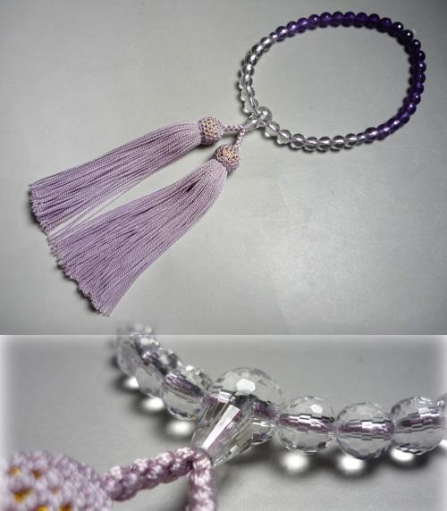 女性用のお数珠 紫水晶108面切子グラデーション ライラック房