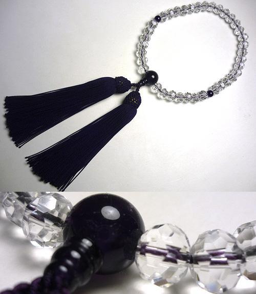 女性用のお数珠 水晶みかん玉切子 紫水晶仕立て紫紺房