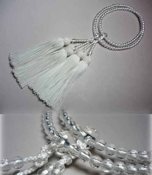 女性用のお数珠 水晶108面切子仕立て 白房 二重
