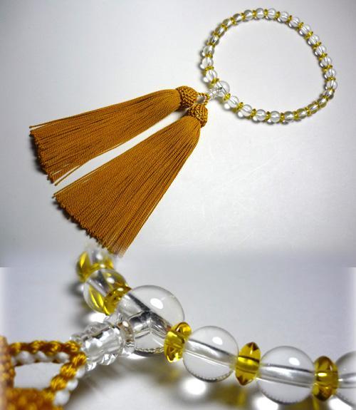 女性用のお数珠水晶・黄水晶コンビネーション