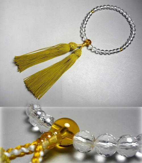 女性用のお数珠 水晶108面切子黄水晶仕立
