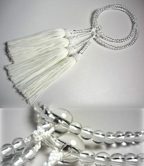 女性用のお数珠 水晶5ミリ玉 丸型二重
