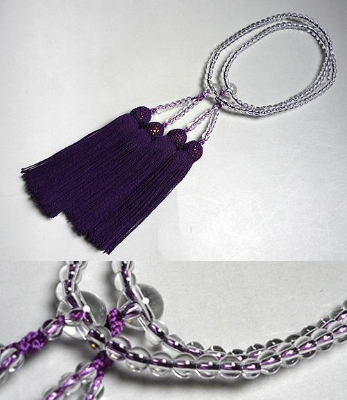 女性用のお数珠 水晶 丸玉 二重 薄古代紫房