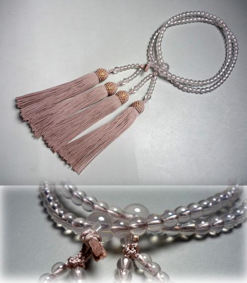 女性用のお数珠紅水晶二重灰桜房