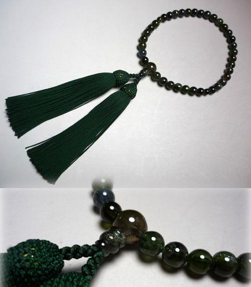 女性用のお数珠 グリーントルマリン 共仕立て 黒緑房