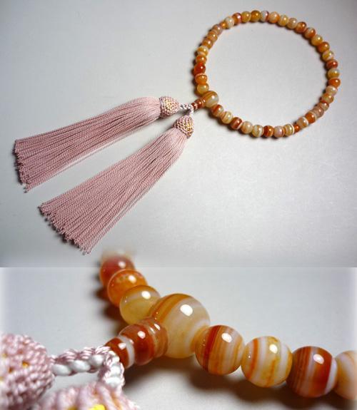 女性用のお数珠 縞瑪瑙 丸玉 正絹房