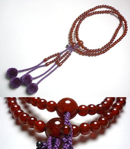 女性用お数珠 瑪瑙 真言宗 絹棒房