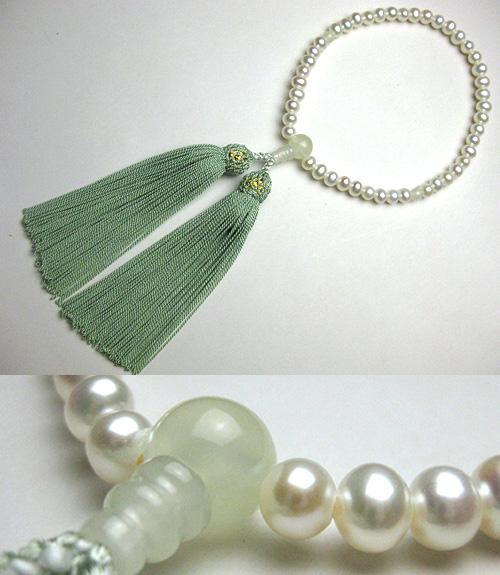 女性用のお数珠 淡水真珠ポテト型 サーペンティン仕立て 青磁房