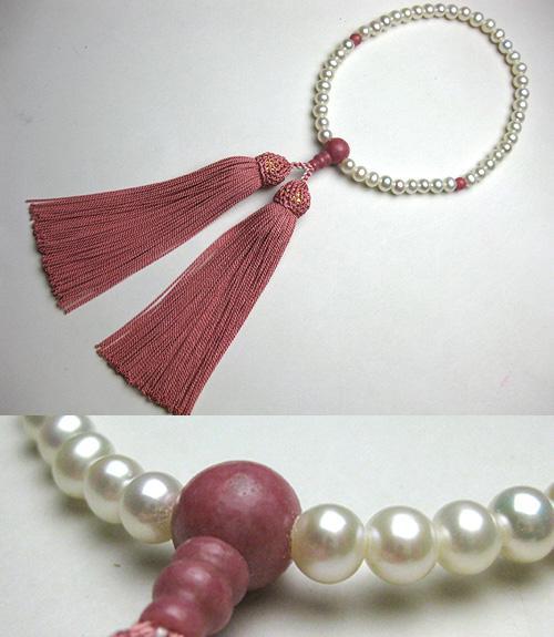 女性用のお数珠 淡水真珠ポテト型 ピーモンタイト仕立て 薄紅房