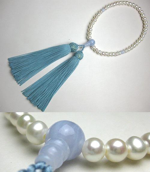 女性用のお数珠 淡水真珠ポテト型 カルセドニー仕立て 忘な草房