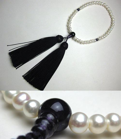 女性用のお数珠 淡水真珠ポテト型 紫水晶仕立て 紫紺房