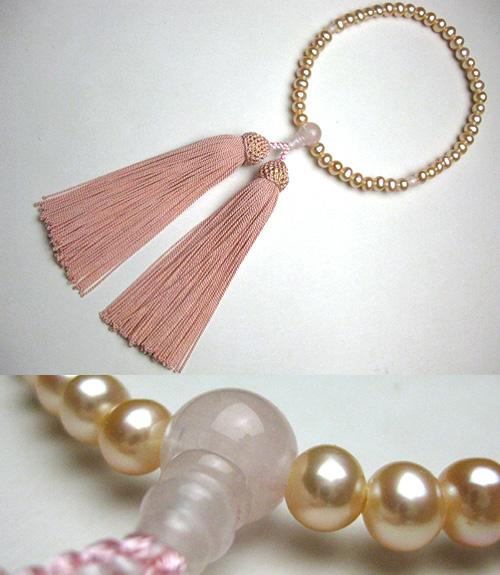 女性用のお数珠 オレンジ淡水真珠ポテト型 紅石英仕立て ピンク房