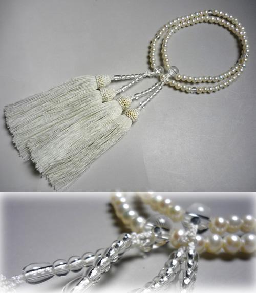 女性用お数珠 淡水パールポテト型8寸振分 水晶仕立て