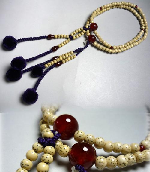 【ポイント10倍&お香プレゼント中】 女性用お数珠 星月菩提樹瑪瑙仕立て 絹棒房 法華宗