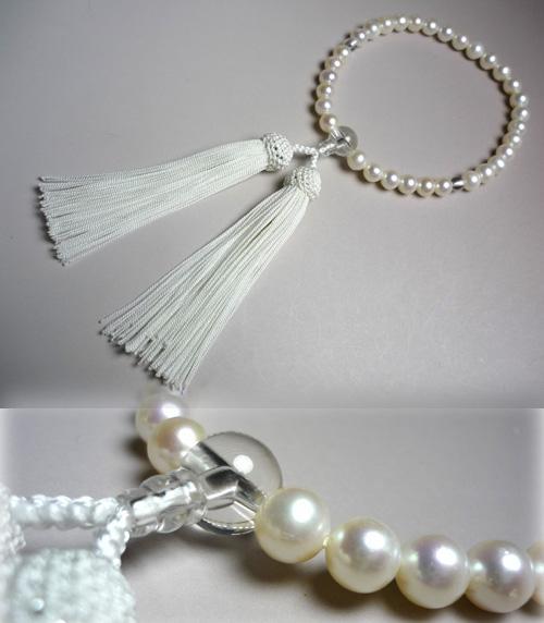 女性用のお数珠 淡水真珠 白房