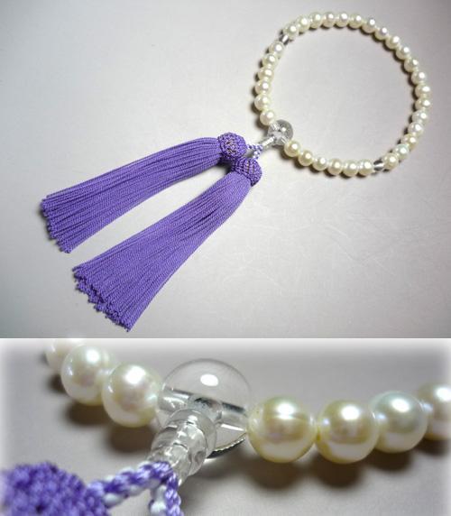 女性用のお数珠 淡水真珠 紫房