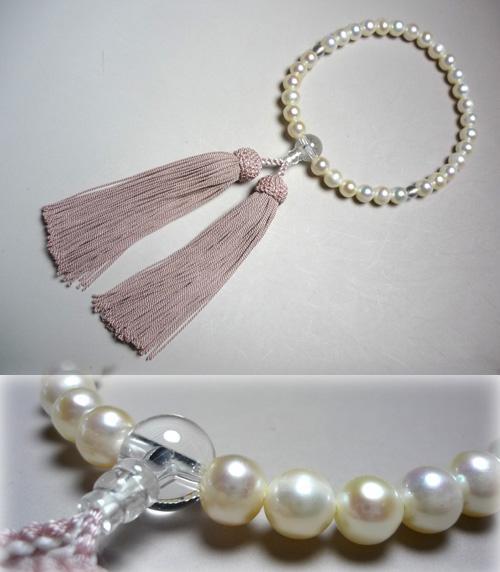 女性用のお数珠 淡水真珠 灰桜房