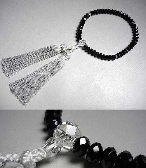 女性用のお数珠ブラックスピネルみかん玉切子(カット)水晶切子(カット)仕立て