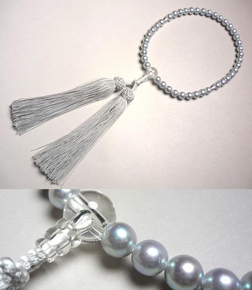 女性用のお数珠 本真珠 水晶仕立て 白銀房