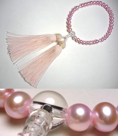 女性用のお数珠 ピンク淡水パール水晶仕立