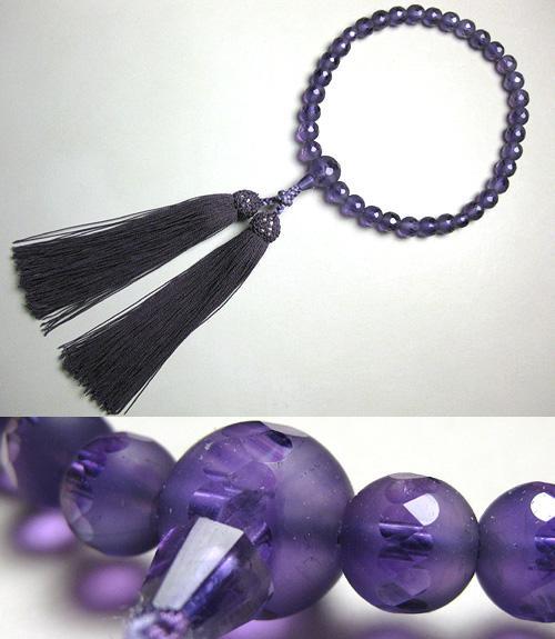 女性用のお数珠 紫水晶 窓付淡雪 共仕立て 似紫房