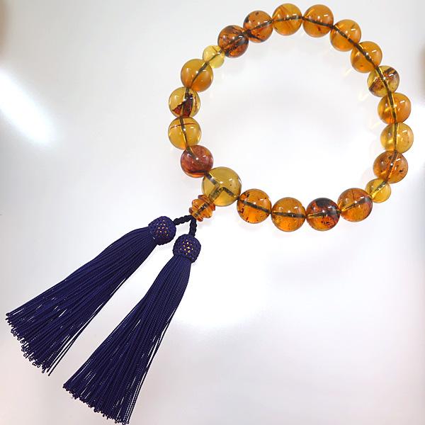 男性用数珠 ブルーアンバー 18玉 共仕立て 限定品 念珠 琥珀