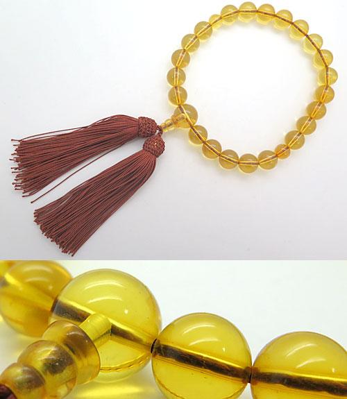 数珠 男性用 天然琥珀 22玉 共仕立て 限定品 送料無料 コハク