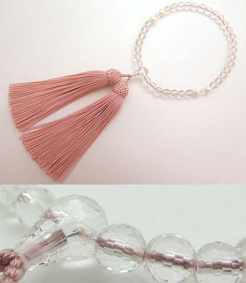 数珠 女性用 水晶 108面カット 淡水真珠四天 灰桜房