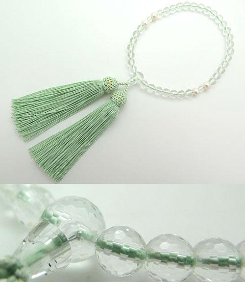 女性用のお数珠 水晶108面カット 淡水真珠 4点仕立て 青磁房