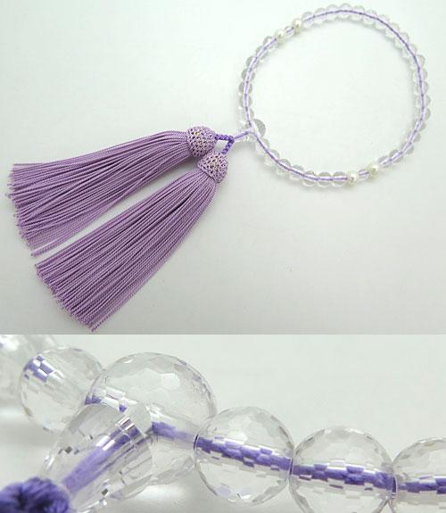女性用のお数珠 水晶108面切子 淡水真珠4点仕立て 藤房