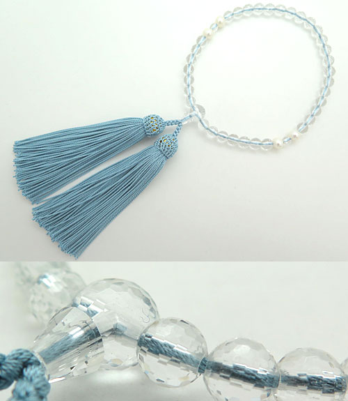 女性用のお数珠 水晶108面切子 淡水真珠 4点仕立て 忘草房