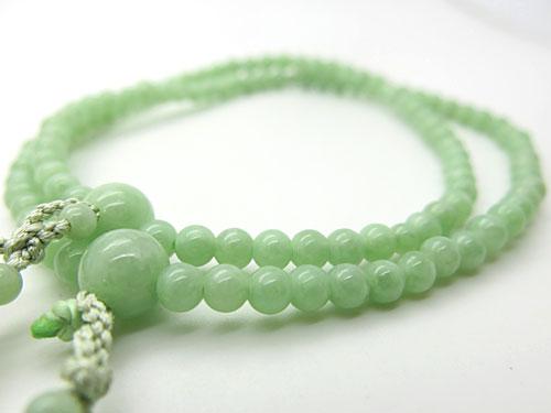 女性用のお数珠 上質ビルマ翡翠 5mm玉 二重 八宗兼用 共仕立て