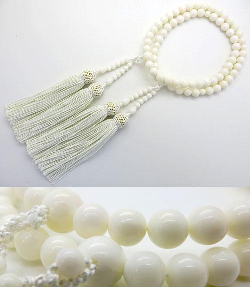 【ポイント10倍&お香プレゼント中】 女性用 数珠 白珊瑚8mm玉 二重(八宗兼用) 共仕立て【数珠】【念珠】【珊瑚】