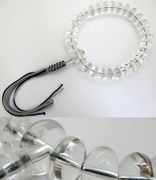男性用のお数珠 水晶 28 平玉 共仕立て 紐房
