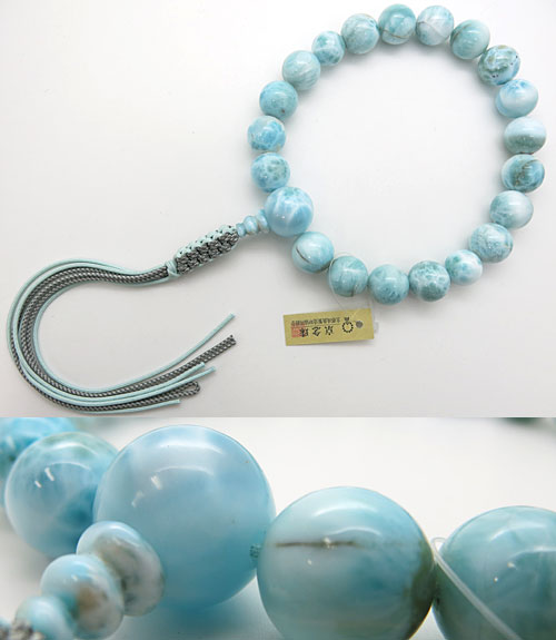[10%OFFセール開催中] 男性用のお数珠 ラリマー(ブルーペクトライト) 18玉 共仕立て 紐房