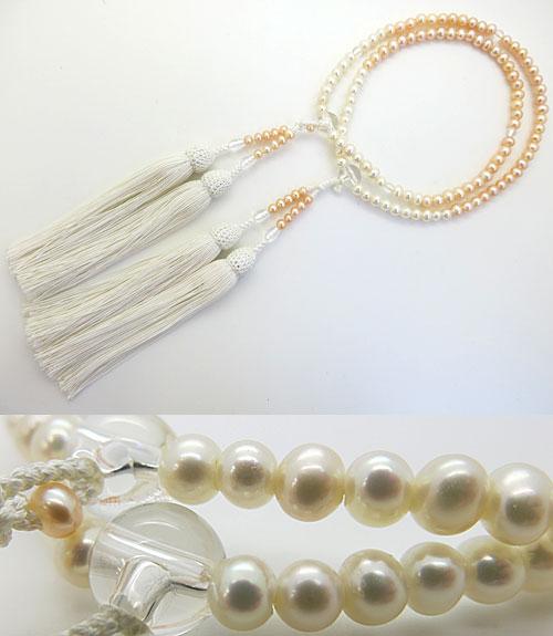 女性用のお数珠 淡水真珠 ポテト型 グラデーション 水晶仕立て 白房 八宗兼用