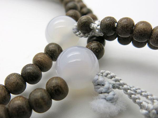 [10%OFFセール開催中] 男性用のお数珠 シャム柿 白瑪瑙仕立て 日蓮宗 二双半法華(尺)