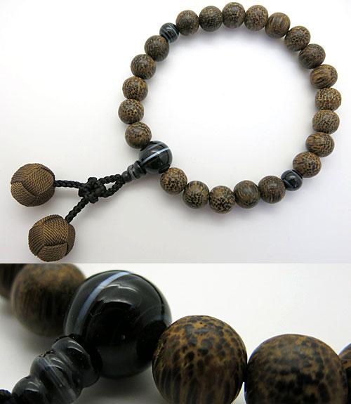 男性用のお数珠 ビンロウ樹 22玉 縞オニキス仕立て