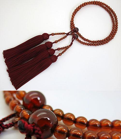女性用のお数珠 アフリカガーネット 5mm玉 共仕立て エンジ房 八宗兼用