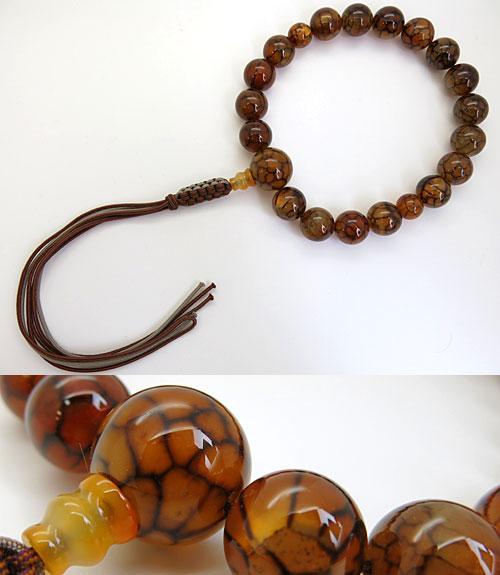 男性用のお数珠 龍紋瑪瑙(レッド) 18玉 共仕立て 紐房 b