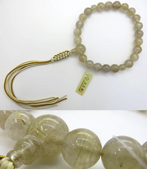 <title>透明感もあり 金線の入った数珠です 現品限りになります 男性用のお数珠 ルチル水晶 金線水晶 22玉 共仕立て 紐房 超目玉</title>