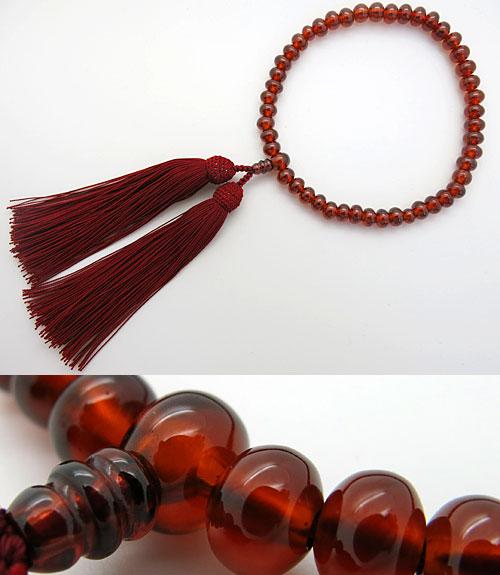 女性用のお数珠 最高級アフリカガーネット みかん玉 共仕立て エンジ房