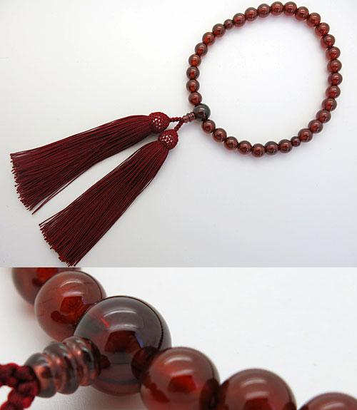 女性用のお数珠 最高級アフリカガーネット 8mm玉 共仕立て エンジ房