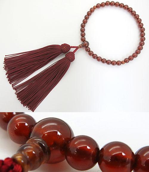 女性用のお数珠 アフリカガーネット 7mm玉 共仕立て エンジ房