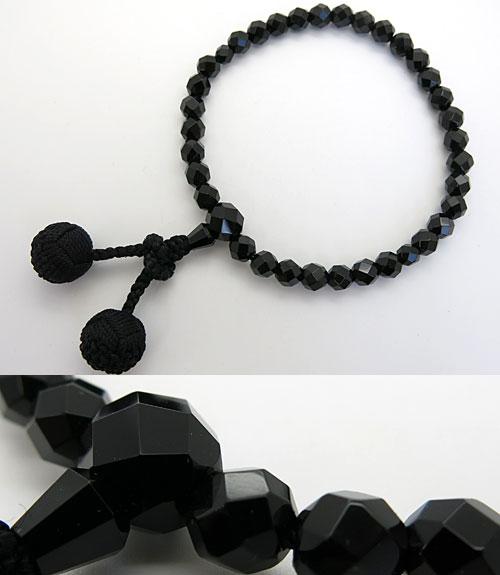 女性用のお数珠 ブラックオニキス 切子 華梵天房